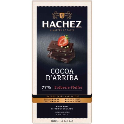 Hachez 77% Strawberry Pepper with Cocoa D Arriba Chocolate Bar