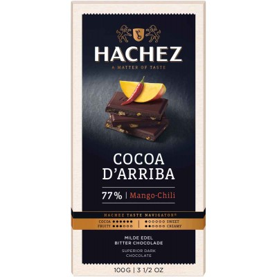Hachez 77% Mango Chili with Cocoa D Arriba Chocolate Bar