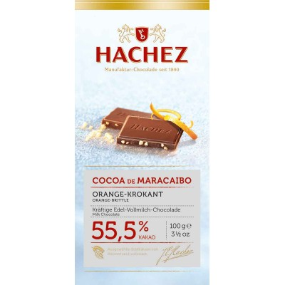 Hachez Orange Crunch Cocoa De Maracaibo 55.5% Bar