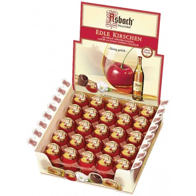 Asbach Brandy Filled Chocolate Cherries in Display