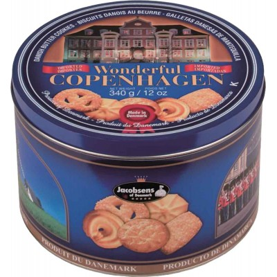 Jacobsens of Denmark Wonderful Copenhagen 9% Butter Cookie Tin