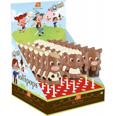 Belfine Farm Animal Chocolate Lollipops