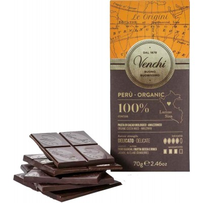 Venchi Organic Peru Dark Chocolate 100% Bar