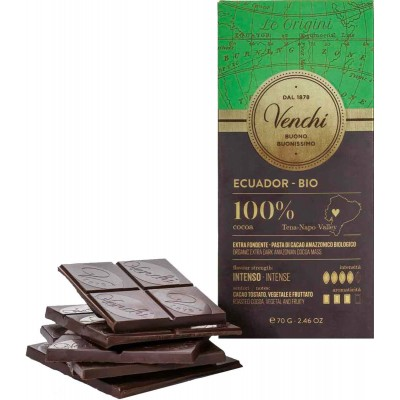 Venchi Organic Ecuador Dark 100% Chocolate Bar