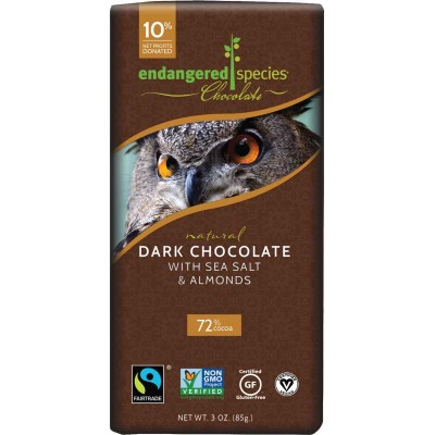 Endangered Species Rainforest Alliance Owl 72% Seasalt Almond Cocoa Bar