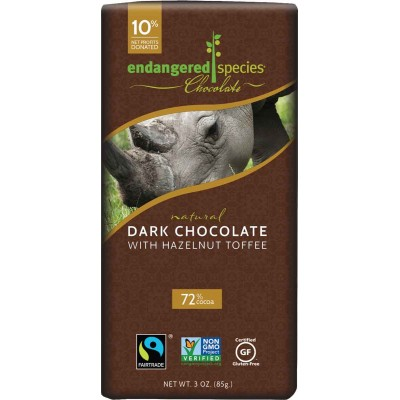 Endangered Species Rainforest Alliance Rhino 72% Toffee Dark Cocoa Bar