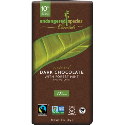 Endangered Species Rainforest Alliance 72% Mint Dark Cocoa Bar