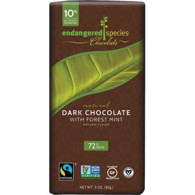 Endangered Species Rainforest Alliance 72% Mint Dark Cocoa Bar