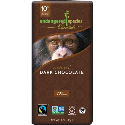Endangered Species Rainforest Alliance Chimpanzee 72% Cocoa Bar