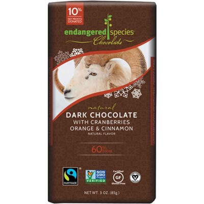 Endangered Species Rainforest Alliance Ram 60% Dark Chocolate with Cranberry, Orange, & Cinnamon Cocoa Bar