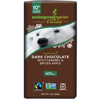 Endangered Species Rainforest Alliance Polar Bear 60% Dark Chocolate with Caramel & Spiced Apple Cocoa Bar