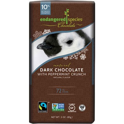 Endangered Species Rainforest Alliance Penguin 72% Dark Chocolate with Peppermint Cocoa Bar