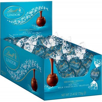 Lindt Seasalt Milk Chocolate Lindor Truffles Display