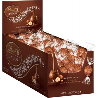 Lindt Hazelnut Chocolate Lindor Truffles Display
