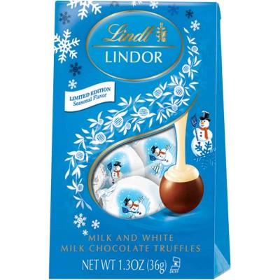 Lindt Holiday Lindor Milk / White Snowman Mini Bag