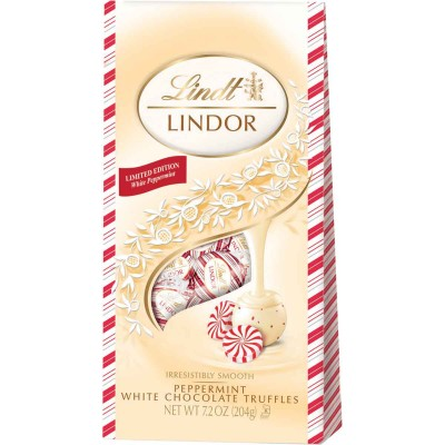 Lindt Holiday Lindor White Chocolate Peppermint Truffle Bag