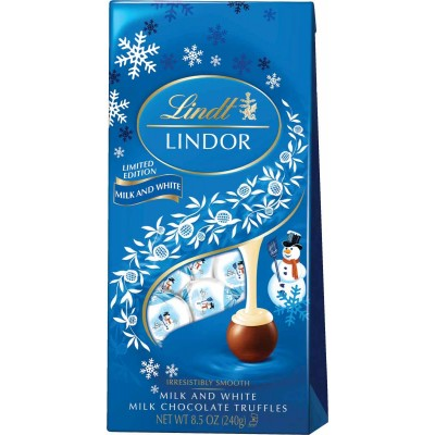 Lindt Holiday Lindor Milk / White Snowman Bag