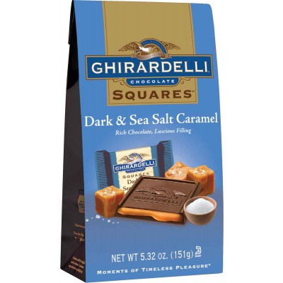 Ghirardelli Dark Chocolate with Carmel Sea Salt Stand up Bag Squares