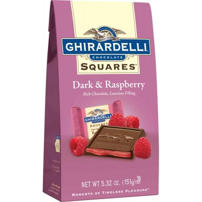 Ghirardelli Dark with Raspberry Stand up Bag Squares