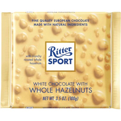 Ritter White Chocolate & Whole Hazelnuts Bar
