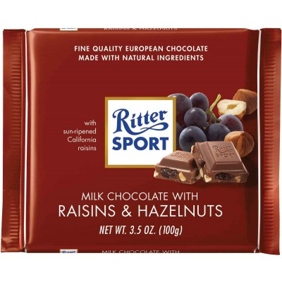 Ritter Raisin & Hazelnut Chocolate Bar