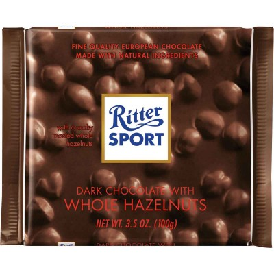 Ritter Dark Chocolate & Whole Hazelnuts Bar