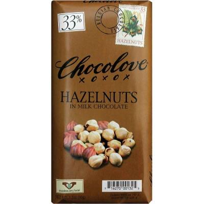 Chocolove Milk Chocolate with Hazelnuts Bar