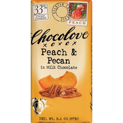 Chocolove Peach & Pecan in Milk Chocolate Bar