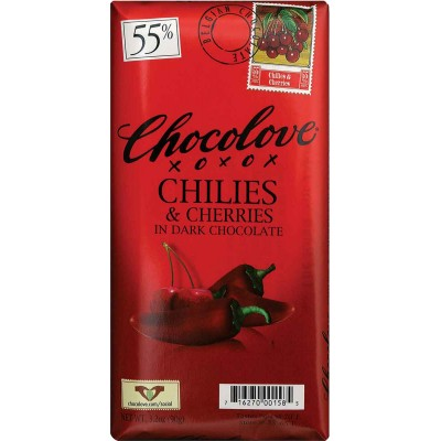 Chocolove Dark Chocolate with Cherries & Chilies Bar