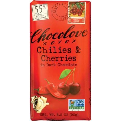Chocolove Chilies & Cherries in Dark Chocolate Bar