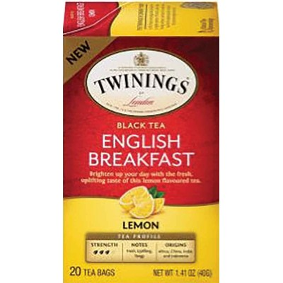 Twinings of London English Breakfast Lemon Tea 20 Count