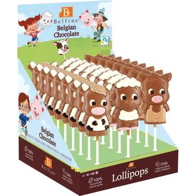 Belfine Farm Animal Chocolate Lollipops