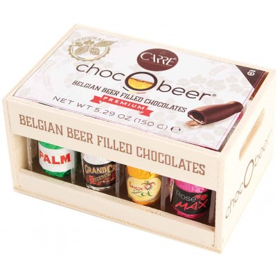 Chocolatier Carre Chocobeer Belgian Beer Filled Chocolate Wood Crate 12 Piece