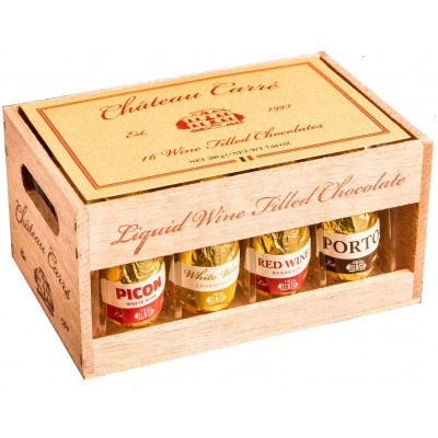 Chocolatier Carre Wine Filled Chocolate Wood Crate