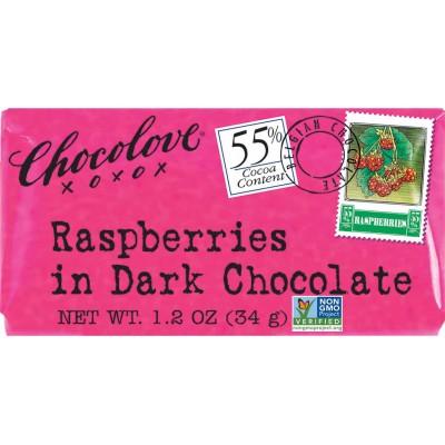 Chocolove Raspberries in Dark Chocolate Mini Bar