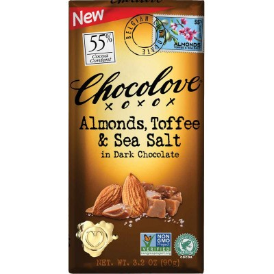 Chocolove Almonds, Toffee & Sea Salt in Dark Chocolate Bar
