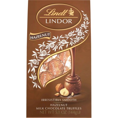 Lindt Hazelnut Chocolate Lindor Truffles Bag