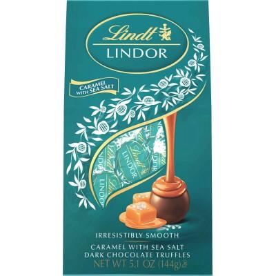 Lindt Lindor Dark Seasalt Caramel Truffle Bag