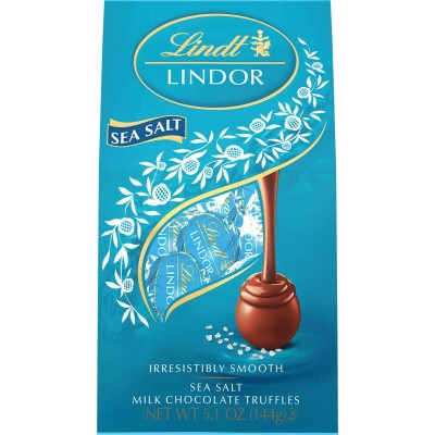 Lindt Milk Chocolate Sea Salt Lindor Truffles Bag