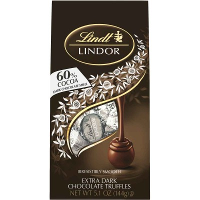 Lindt 60% Extra Dark Chocolate Lindor Truffles Bag
