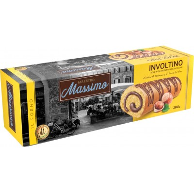 Maestro Massimo Involtino Roll Cake with Hazelnut Cream in Box