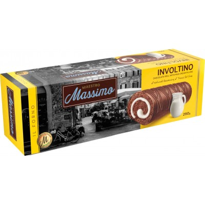 Maestro Massimo Involtino Chocolate Roll Cake with Cream Filling