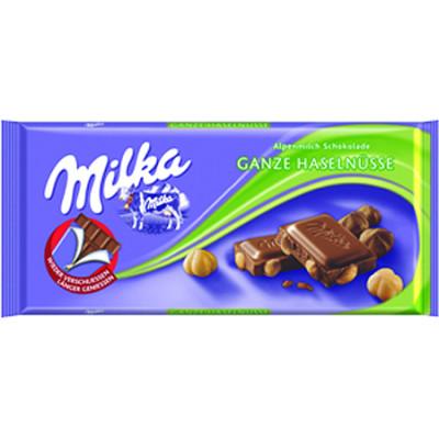 Milka Whole Hazelnuts Chocolate Bar