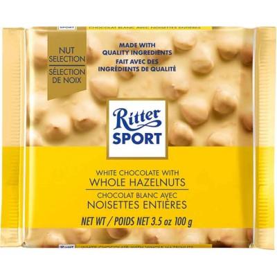 Ritter White Chocolate & Whole Hazelnuts Bar