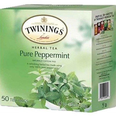 Twinings of London Pure Peppermint Herbal Tea 50 CT Box
