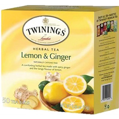 Twinings of London Lemon & Ginger Herbal Tea 50 CT Box