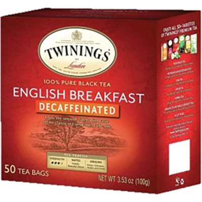Twinings of London English Breakfast Decaffeinated Tea 50 CT Box