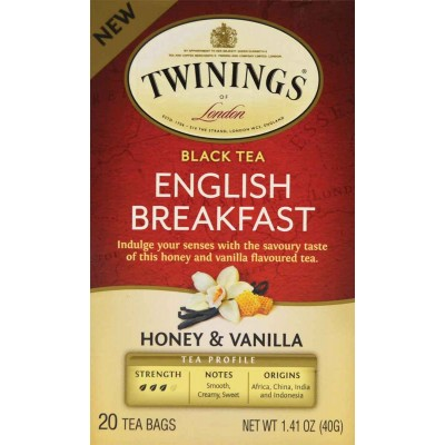 Twinings of London English Breakfast Honey Vanilla 20 Count